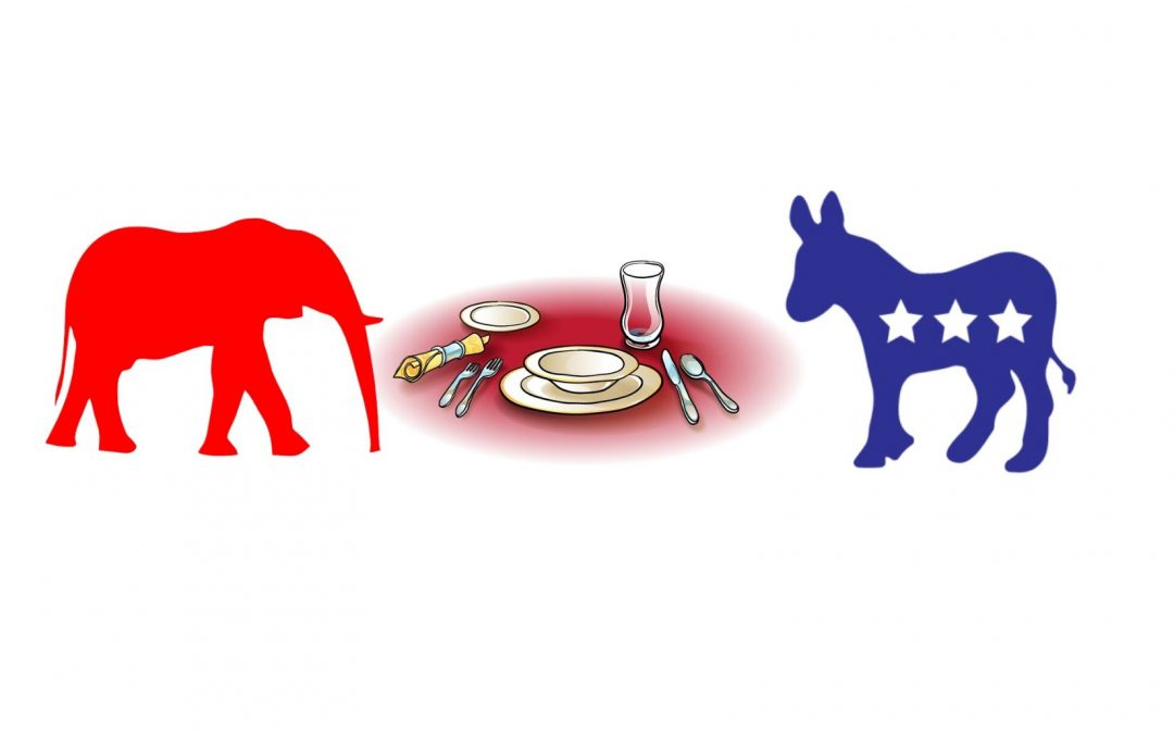 donkey and elephant at the table